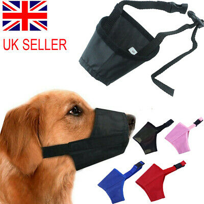Adjustable STOP BARKING Anti Bark Soft Black Dog MUZZLE XS Small Medium Large XL