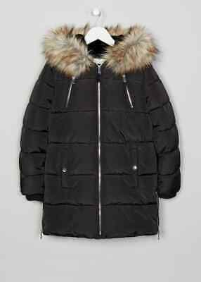 Girls BNWT Matalan Candy Couture Black Hooded Padded Coat Parka School