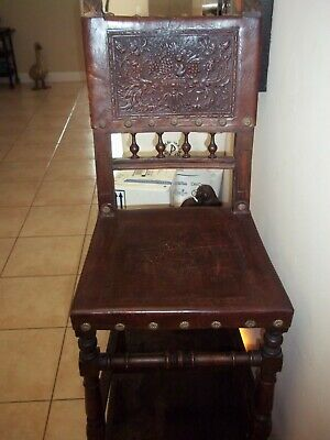 """ANTIQUE WOOD w/ EMBEDDED DESIGN LEATHER SEAT & BACK DESK READING CHAIR 38"""" TALL"""