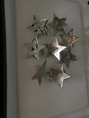 """4 Silver Star Napkin Rings Set of Four Hammered Silverplate 3.25/"""""""