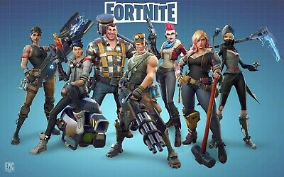 "Fortnite Poster Battle Royale Blue Game Wall Poster 24x36"" or  27""x 40"""