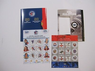 NHL 50th All Star Game Canada Post Stamp Collection + NHL All Stars Stamps MINT