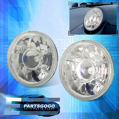 """Universal Clear 7"""" H6024 Round Projector Headlights Head Lamps With Bulbs Pair"""