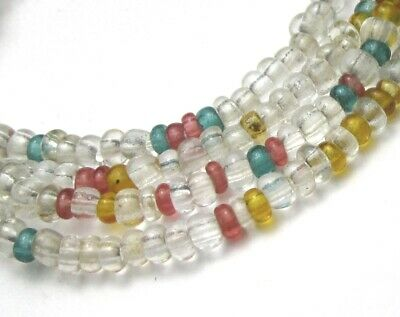 "26"" Strand Of Beautiful Old Tiny Mixed Translucent Antique Victorian Beads"