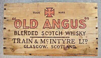 Rare Vintage Old Angus Scotch Whisky Wood Crate Scotland New York San Francisco