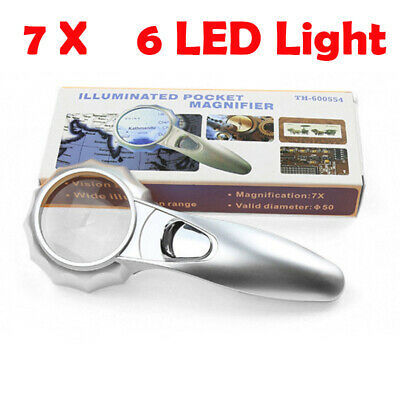 Handheld 7X Magnifying Reading Glass Lens Jewelry Loupe With 6 LED Light Lamp BR