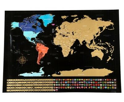World Scratch Map Travel Poster Highly Detailed Scratchy Countries Island Flags