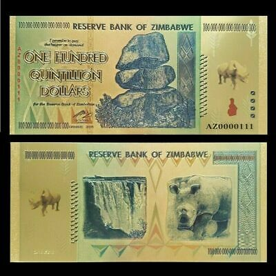 Zimbabwe 100 Quintillion Gold Banknote Plated Pure 24K Gold & Coloured (ZM1qt)