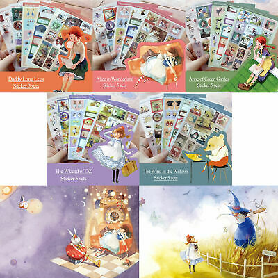 Classic Story Illustrated Stickers 5EA for Planner Calendar Point Decor Decal