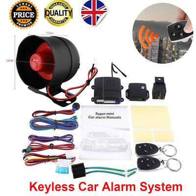 Car Remote Security Alarm System Immobiliser Central Lock Kits + Shock Sensor