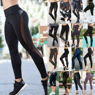 Women High Waisted Yoga Pants Mesh Sports Fitness Gym Jogging Leggings Trousers
