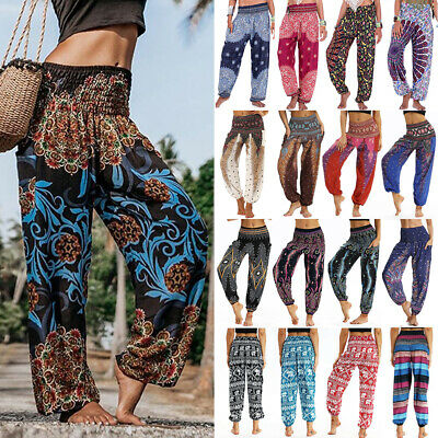 Women Boho Baggy Gypsy Yoga Harem Pants Floral Loose Aladdin Trousers Plus Size