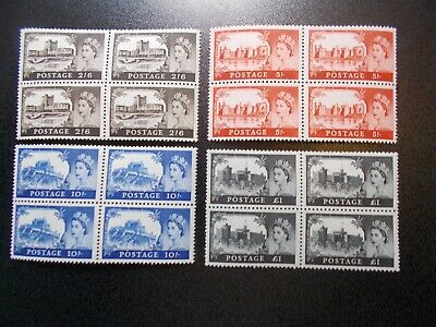4 x GB 1963 Castles Stamps to £1~4 Values ~BW~595a-598a~Unmounted Mint~UK Seller