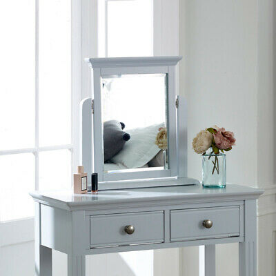 Grey tabletop vanity makeup mirror wooden freestanding dressing table accessory