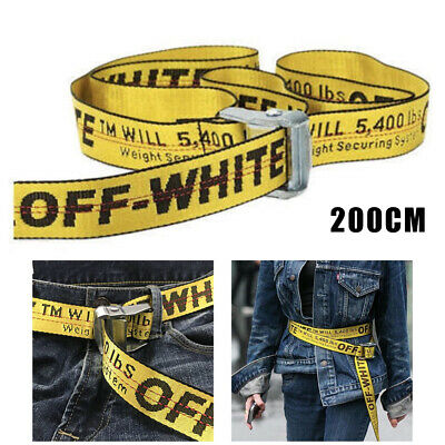 Off White Tie Down Nylon Yellow Cotton Big IRON Head Industrial Belt Cool 200CM