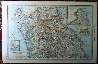 Antique MAP ~ NORTHERN ENGLAND Durham Northumberland Cumbria ~ HARMSWORTH c1900