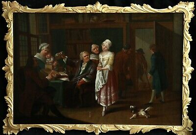 18th CENTURY ENGLISH OLD MASTER OIL - VISIT TO THE PHYSICIAN SURGERY MEDICAL