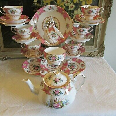 Royal Albert Lady Carlyle Bone China 22 x Piece Tea Service ~ 1st Quality