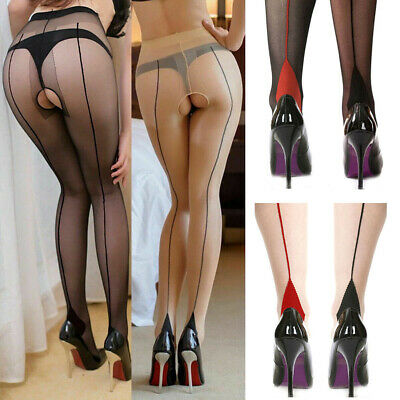 Womens Back Seam Line Stocking High Heels Tights Pantyhose 20D Sheer Open Crotch