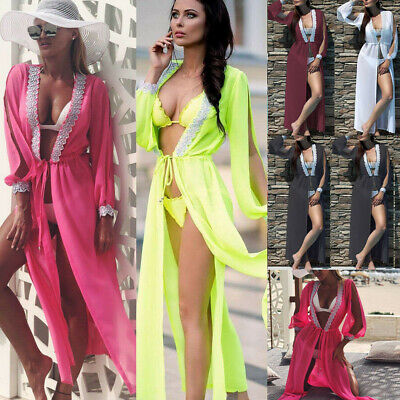 Women Casual Boho Beach Dresses Solid Lace Patchwork Holiday Split Maxi Dress PP