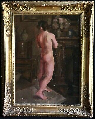 1930's LARGE ENGLISH / FRENCH OIL ON CANVAS NUDE FEMALE IN STUDIO - MONOGRAMMED