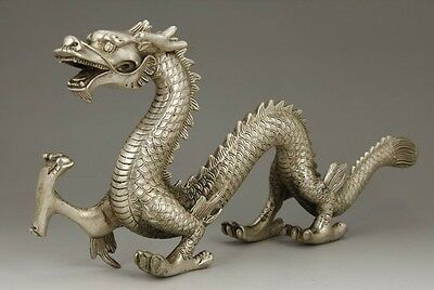 CHINESE OLD BIG Silver Bronze HANDWORK CARVING DRAGON STATUE