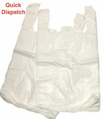 "500 White Large HD Vest Style Plastic Carrier Bags 11"" x 17"" x 21"" 14 Micron"