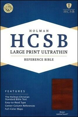 HCSB Large Print Ultrathin Reference Bible, Brown LeatherTouch, Thumb-Indexed