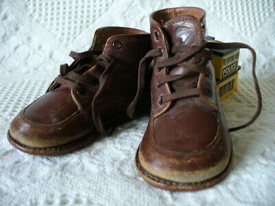 """c.1940 Antique Baby Shoes Brown Leather High Top Boots 5.5"""" Red Goose Shoes CUTE"""