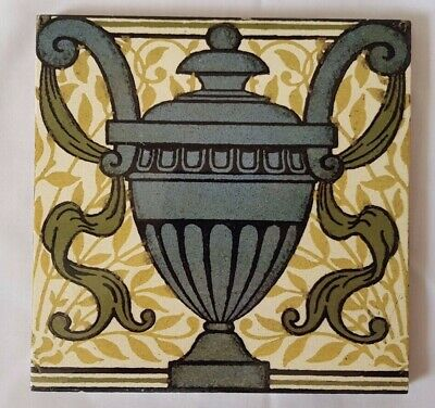 Striking Maw & Co Ornamental Trophy Design Antique 6 Inch Tile