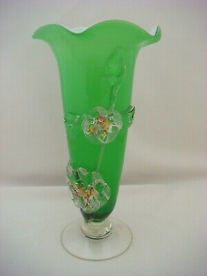 Vintage / Retro Green Glass Vase with Applied Glass Decoration