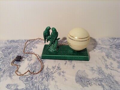 French Art Deco Style Green Porcelain Desk Table Lamp Light - Love Birds (3950)