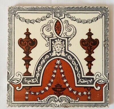 Charming And Elegant Minton Antique 6 Inch Tile.  19Th Century