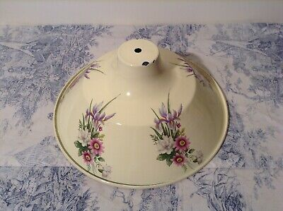 Vintage French Cream Enamel Floral Light Shade (3983)