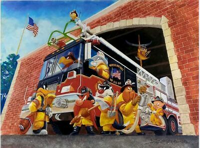 Firefighter Looney Tunes Lithograph Art Firefighting Where One Goes We All Go UF