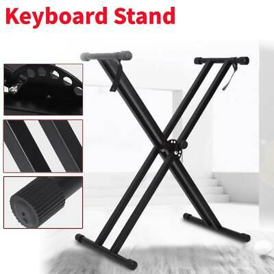 UK Double-Braced X Frame Folding Adjustable Metal Keyboard Piano Stand Holder