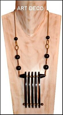 Spectacular Art Deco Pendant Necklace Black Galalith And Brass