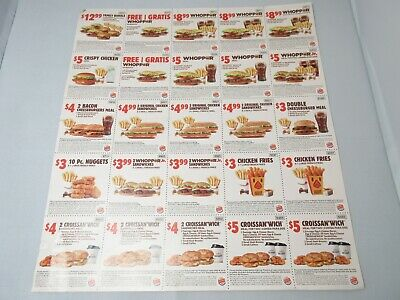 25 Burger King Coupons July August (Exp. 8/25/2019)