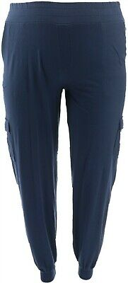 AnyBody Loungewear Tall Cozy Knit Cargo Jogger Pants Navy L NEW A310169