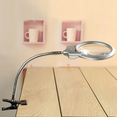 Magnifying Crafts Glass Desk Lamp With 5X 10X 20X Magnifier Loupe LED Lighted