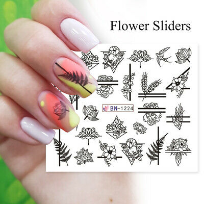 Wraps 3D Water Transfer Decal Green Leaves  Nail Stickers Black White Flowers