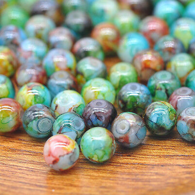 30PCS 8mm Double Color Glass Pearl Round Spacer Loose Beads Jewelry Making Lot
