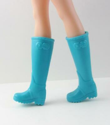Barbie Fashionista Flat Feet Shoes .. Bright Blue Wellies Rain or Riding Boots