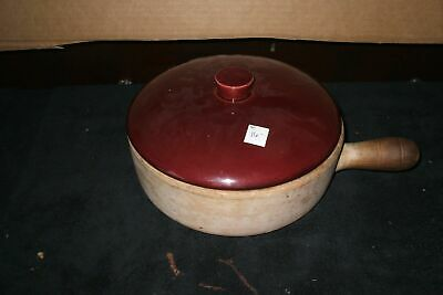 Frying Pan Skillet Lid Pottery Cooking  Signed brown White Vintage B19