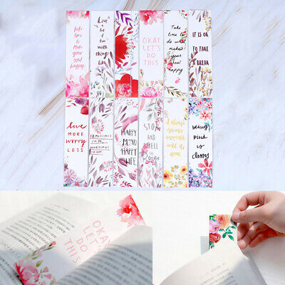 30pcs/set Flowers Bookmarks Message Cards Book Notes Paper Page Holder for Books