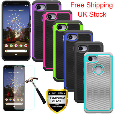 Rugged Hard Armor Case Shockproof Cover For Google Pixel 3a XL + Tempered Glass