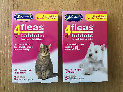 Johnson's 4fleas Tablets for Dog/Puppies & Cats/Kitten 3 Treatment Each Packs