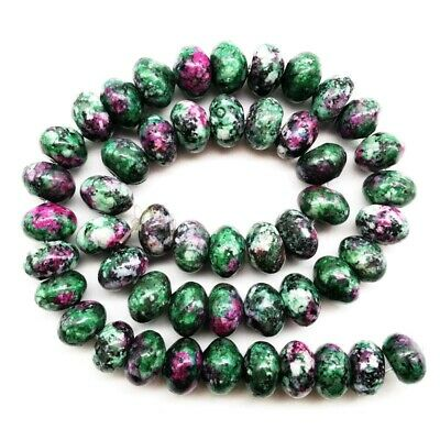 12x8mm Ruby in Fuchsite Rondelle Loose Bead 17.5 inch H101
