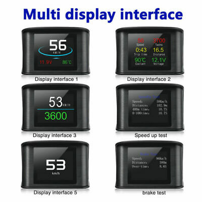 Car HUD Head Up Display Over Speed Fuel Consumption Warning OBD2 Speedometer New