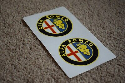 ALFA ROMEO Yellow Modern Style Car Road Race Round Helmet Decals Stickers 100mm
